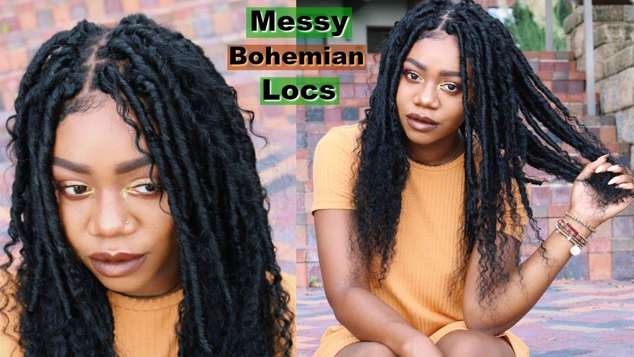 Easy Messy Bohemian Goddess Faux Locs W Human Hair