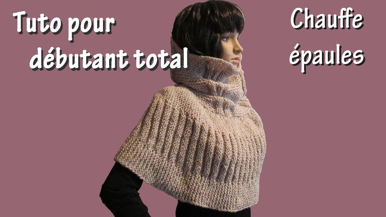 Tuto tricot pour débutant total   Chauffe Epaule au Point de Godron -  YouTube b592f033eeb