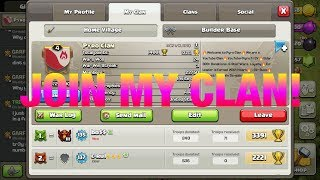 JOIN MY CLAN!!! INTERACTIVE STREAMER!!! CLASH OF CLANS LIVESTREAM