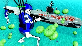 Undead Skeleton Army Paradrops and Swarms the Aircraft Carrier in Ravenfield!