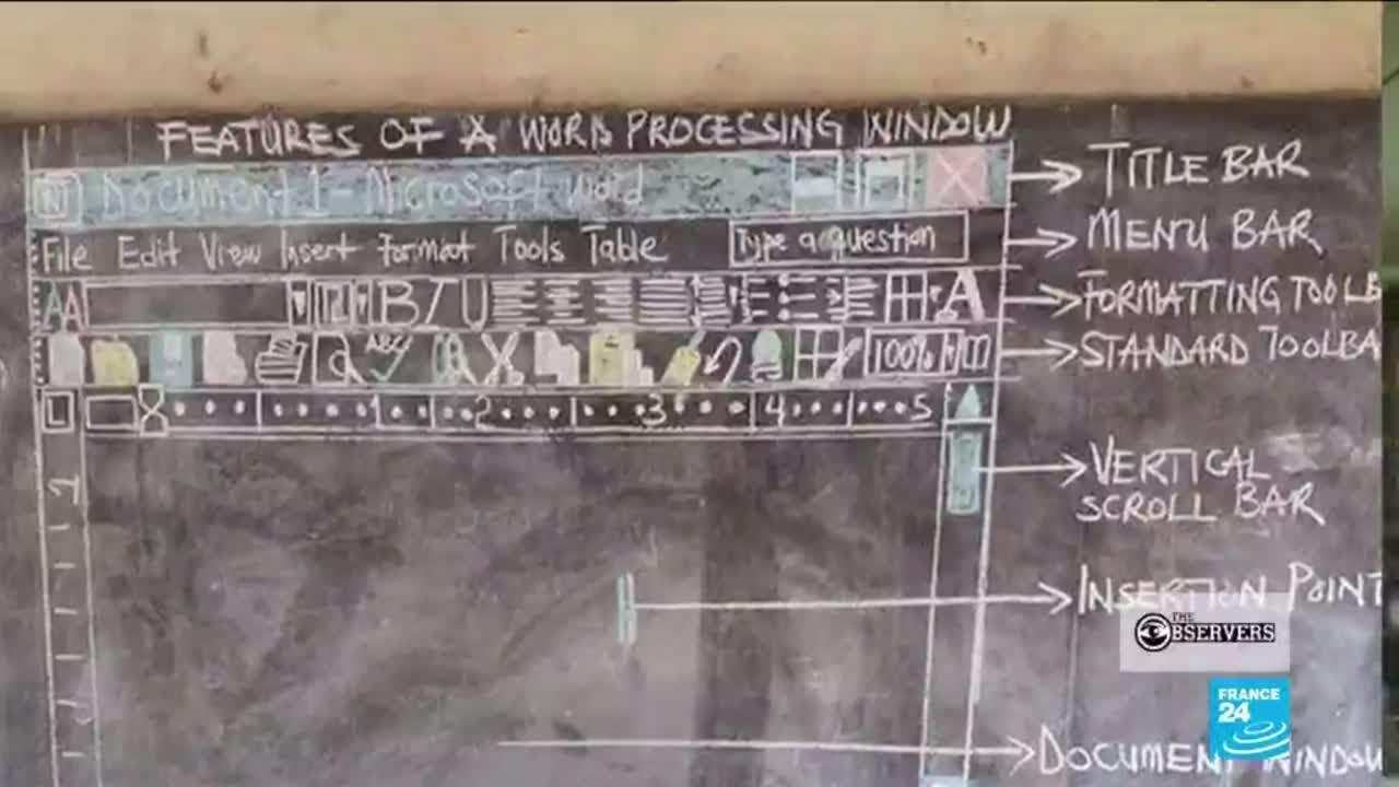 فرانس 24:Drawing technology: teacher draws ICT lessons on blackboard for children without computers