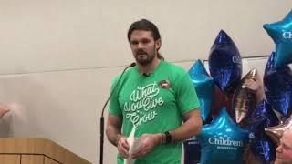 Watch Thomas Morstead's emotional speech at his check presentation to Chikdren's Hospital of Minnes