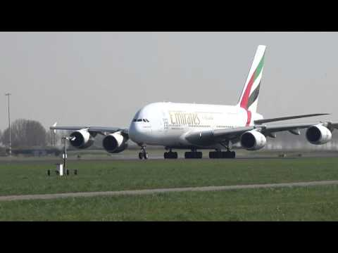 Emirates A380 ready for take off at Amsterdam International Airport