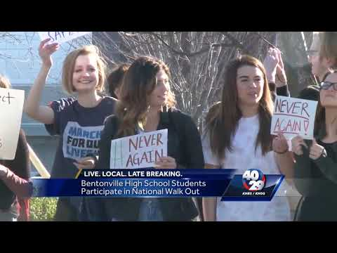 Student walk out of Bentonville High School