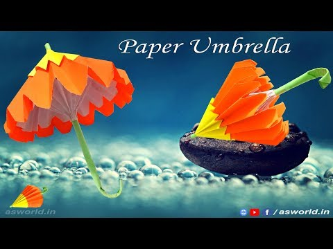 Paper Umbrella making - DIY Paper Art (HD)