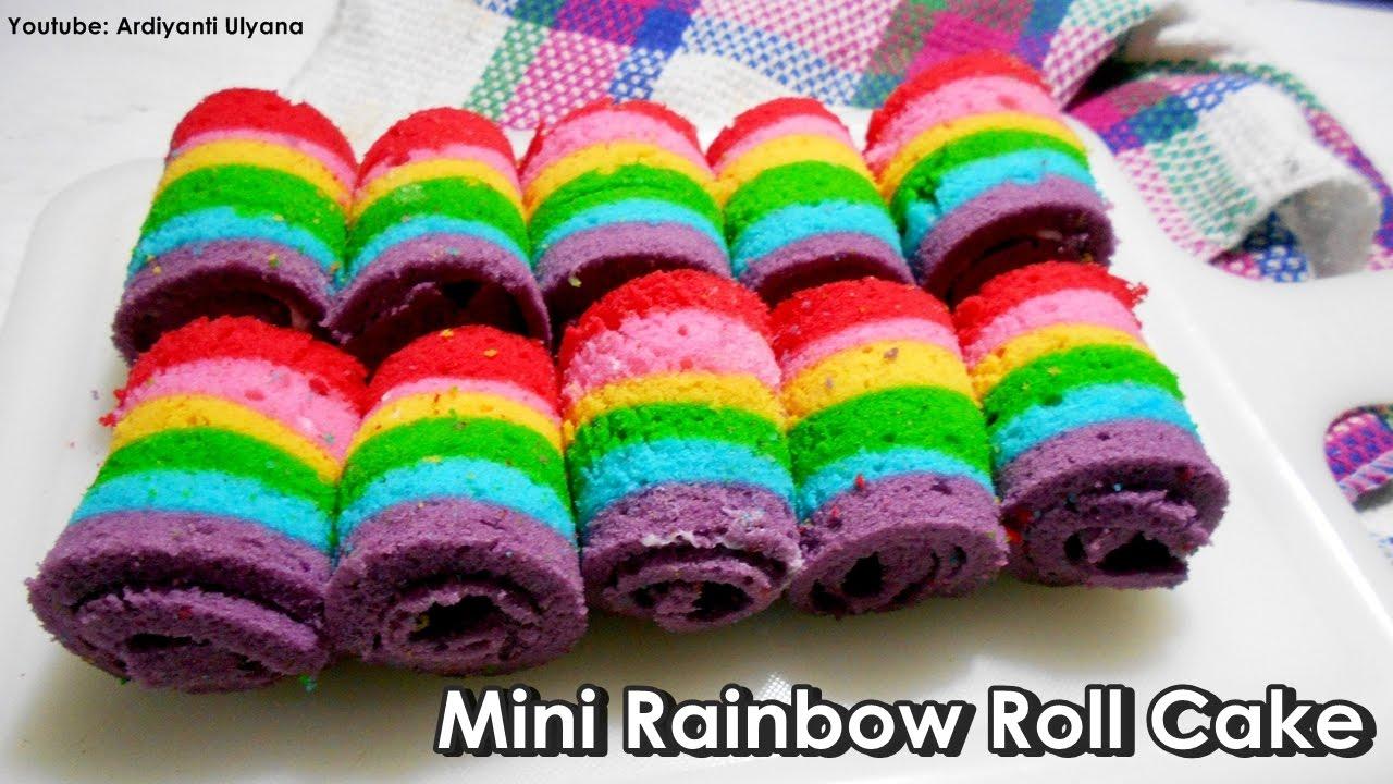 Cara Membuat Mini Rainbow Roll Cake Bolu Gulung Pelangi Youtube