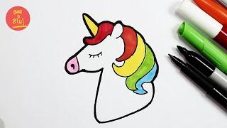 رسم يونيكورن للاطفال |  كيف ترسم يونيكورن سهل |  how to draw unicon easy