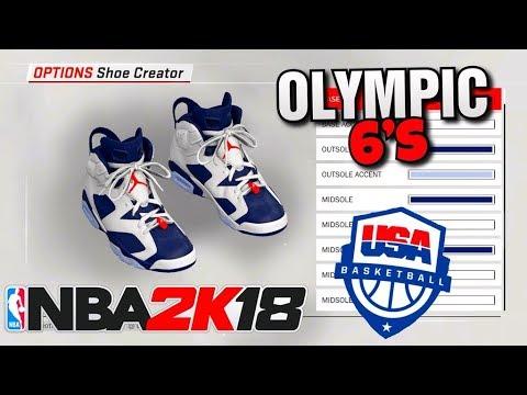 NBA 2K18 SHOE CREATOR TUTORIAL HOW TO MAKE AIR JORDAN 6 OLYMPIC BEST RETRO IN NBA 2K18 OYLMPIC 6S!