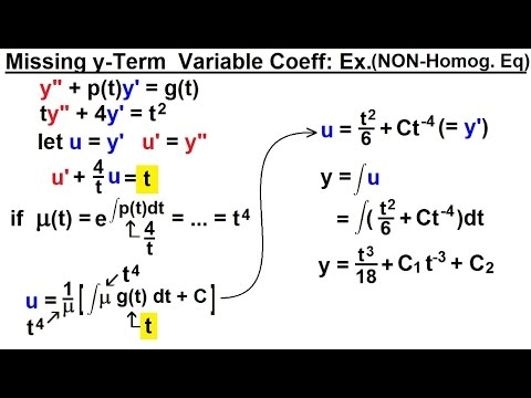 Differential Equation - 2nd Order (63 of 84) Missing y-Term w/ Variable Coeff (NON-Homog)