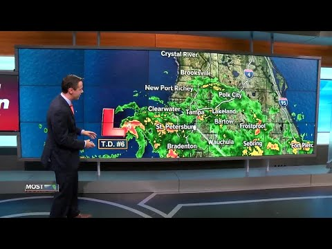 Low pressure west of Tampa has become Tropical Depression Six