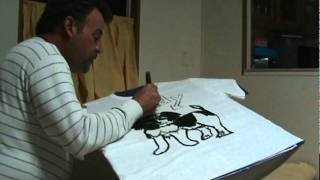 How to draw a Pekinese pup with Fabric Markers for T-Shirt Art.Video#2