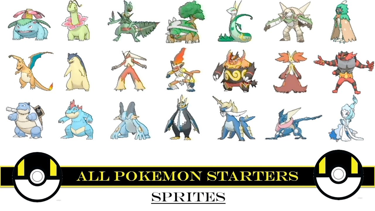 all pokemon starters animated sprites youtube