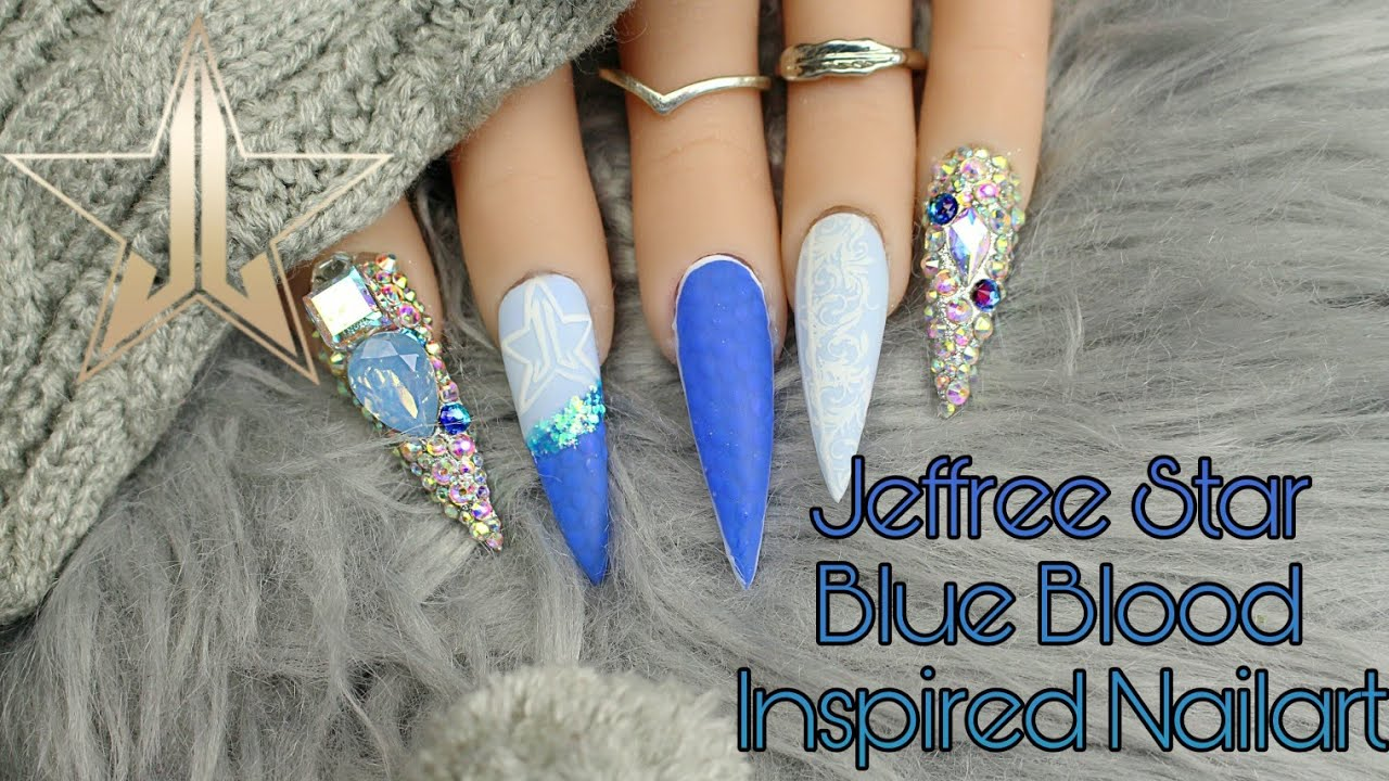 Jeffree Star Blue Blood Inspired Nailart | Easy Gel Nails ...
