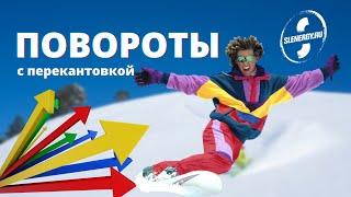 Школа сноуборда. Урок 17 - Активные повороты с перекантовкой - вертикальная работа