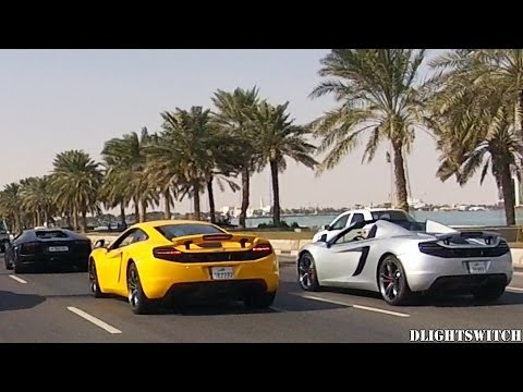 McLarens, Lambos & Bentleys cruising in Downtown Doha