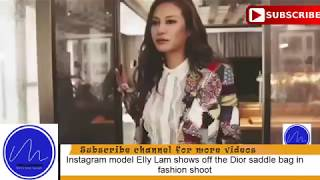 Model Elly Lam shows off the Dior saddle bag in fashion shoot