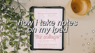 HOW I TAKE NOTES ON MY iPAD PRO 2020 || college note-taking, aesthetic colors, split screen notes