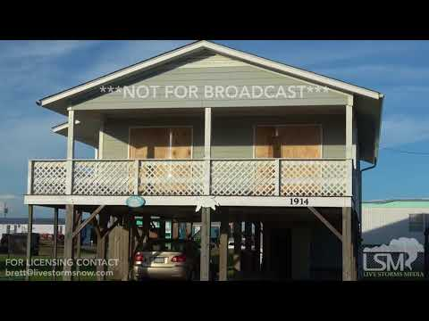 9-9-2018 Surf City, NC Hurricane Florence prep Homes boarded up, empty shelves, surfers galore drone