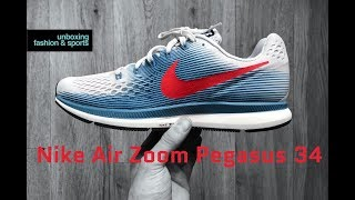 nike Air Zoom Pegasus 34 vast grey/university red  UNBOXING & ON FEET  running shoes  2018  4K