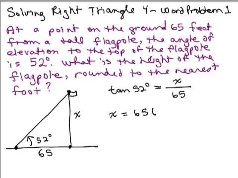 Worksheets Right Triangle Word Problems Worksheet solve right triangles 4 word problem youtube