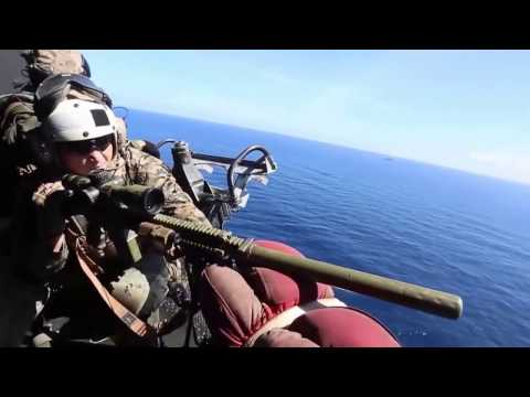 US Marines Training to Fire on a Boat  M4+ Beretta