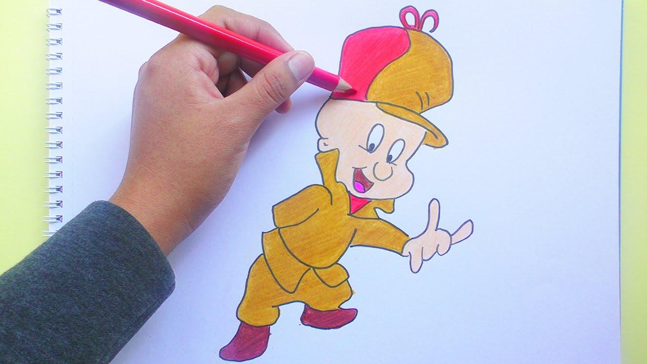 Dibujando Y Pintando Elmer Gruñon Looney Tunes Drawing And Painting Elmer Fudd