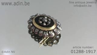 01288-1917 Antique jewelry Victorian rose cut diamonds brooch Adin Antique Jewelry.mp4