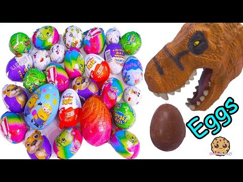 Dinosaur Eating Chocolate Eggs with Surprise Toys, Kinder Joy, Disney, Shopkins