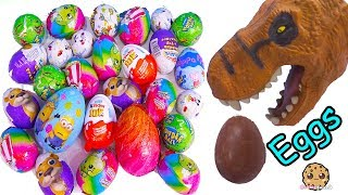 connectYoutube - Dinosaur Eating Chocolate Eggs with Surprise Toys, Kinder Joy, Disney, Shopkins