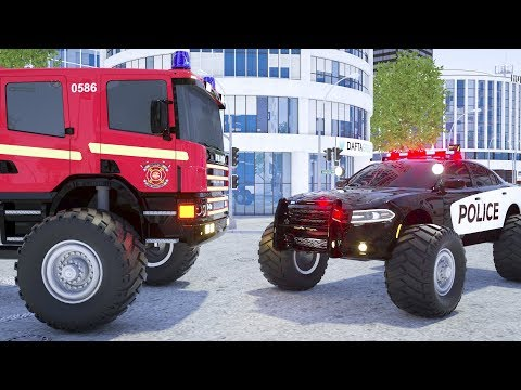 Fire Truck Frank, Sergeant Lucas the Police Car, Ambulance Change Tyres - Wheel City Heroes Cartoon