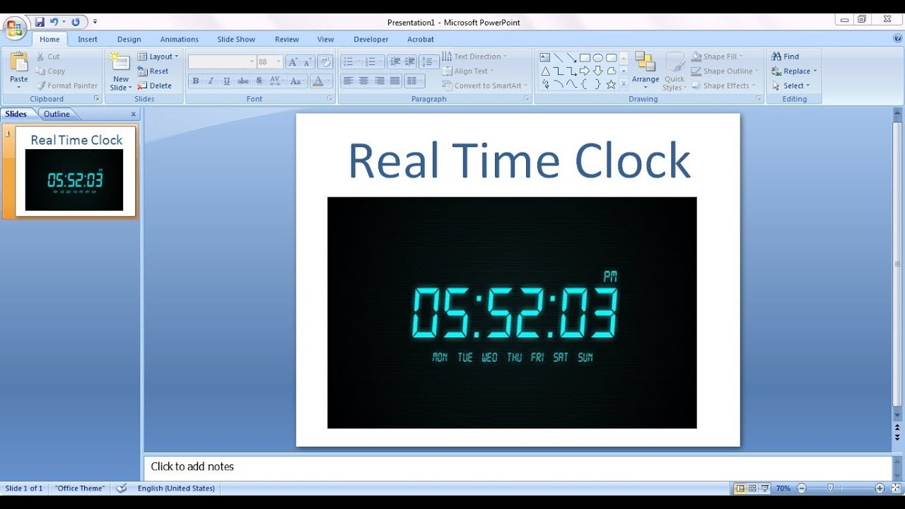 how to embed real time clock in power point presentation(ppt, Modern powerpoint