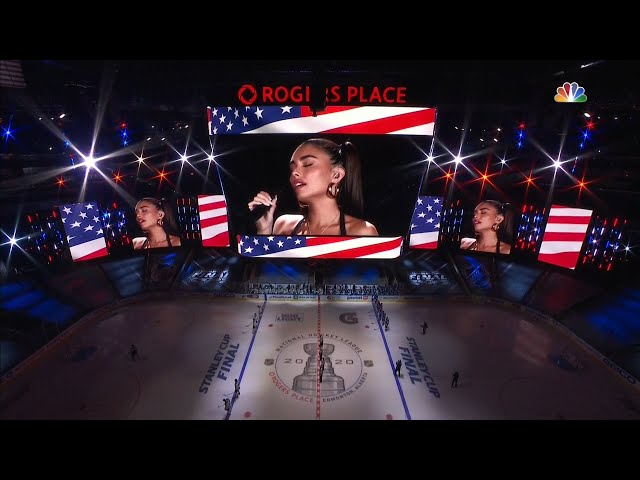 Madison Beer sings the United States national anthem prior to Game 1 of the Stanley Cup Final