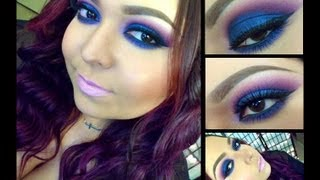 Look: Midnight Skies (Bright Blue and purple smokey eyes with lilac pink lips) Thumbnail