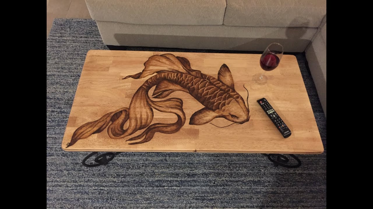 Diy Koi Fish Stain Art Coffee Table Upcycle Old