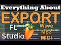 How to Export in FL-studio Wave Mp3 OGG Zipped Effects Data Learn Tutorial