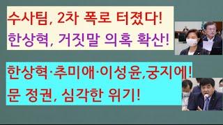 [문틀란 TV] 수사팀, 2차 폭로! 한상혁, 거짓말 의혹 ! 추미애·이성윤·한상혁, 궁지에!