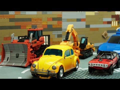 Transformers Bumblebee Movie Animation Robot Truck Lego Thieves ATM Fail & Police Chase Car for kids