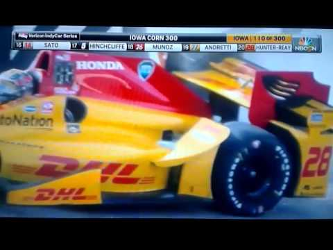 2016 Iowa Corn 300 Ryan Hunter-Reay HUGE FIRE