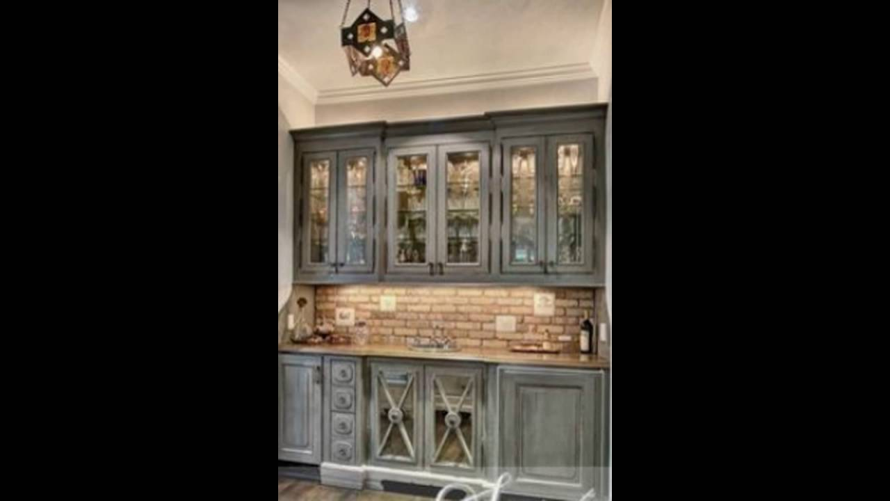 Gray Distressed Kitchen Cabinets