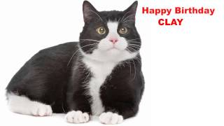 Clay  Cats Gatos - Happy Birthday