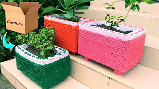 Amazing flower pot making at home with carton and bubble sheet