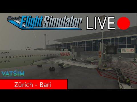 FS2020   Urlaubsflug von Zürich nach Bari   Regenwetter   Swiss Airbus A320 - Cutted Version