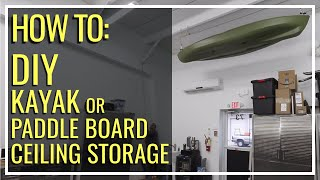 Home Made Kayak Storage Hoist - Hanging a Kayak in a Garage - Cheap and Easy! - DIY