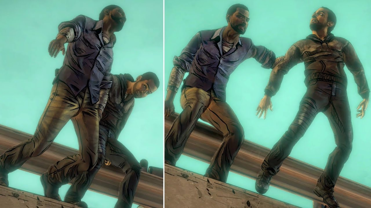 Download Omid Pushes Lee From The Bridge vs Lee Pushes Omid -All Choices- The Walking Dead
