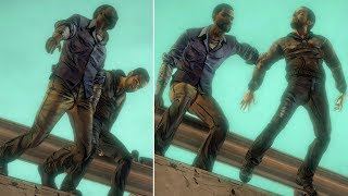 Omid Pushes Lee From The Bridge vs Lee Pushes Omid -All Choices- The Walking Dead