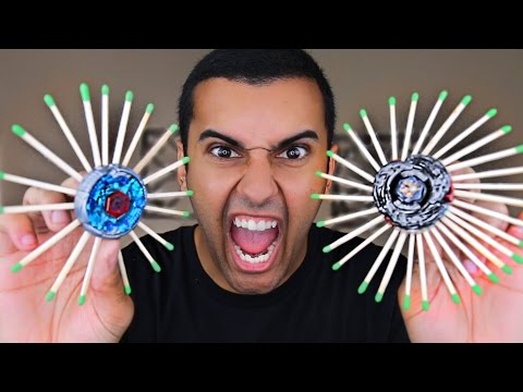 EXPERIMENT!! EXTREME FLAMING BEYBLADE TOY!! TASER CHALLENGE!! (FIRE WARNING!)