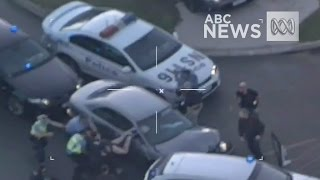 Police helicopter footage shows high-speed pursuit through Perth