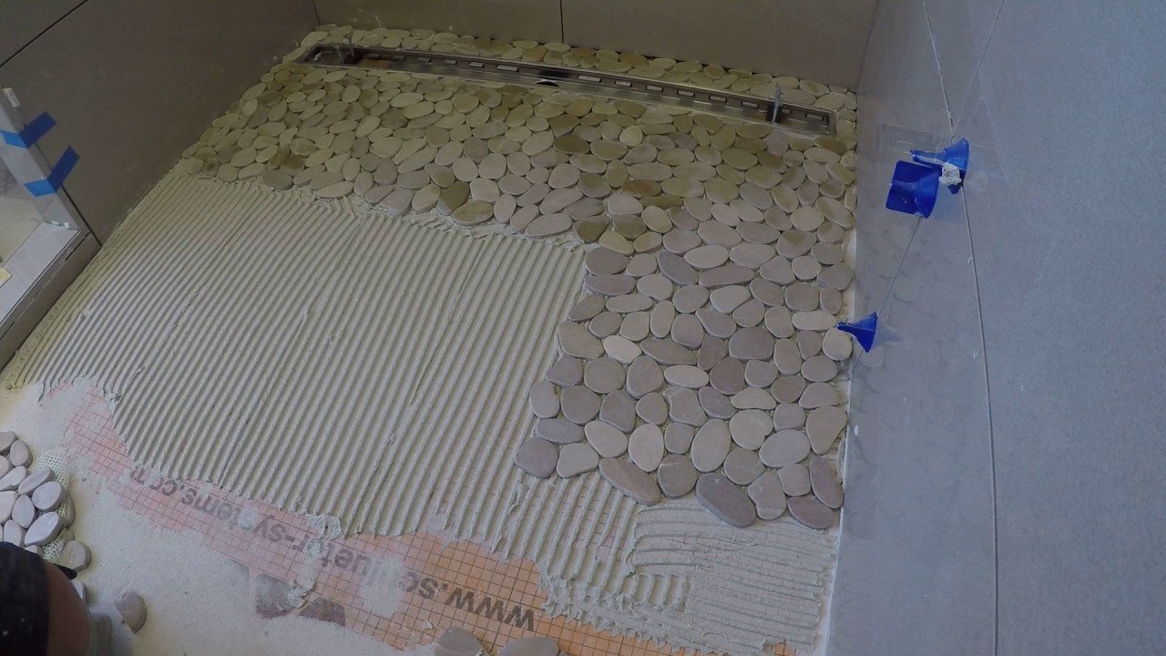 Install Pebble Tile In Shower Pan Floor
