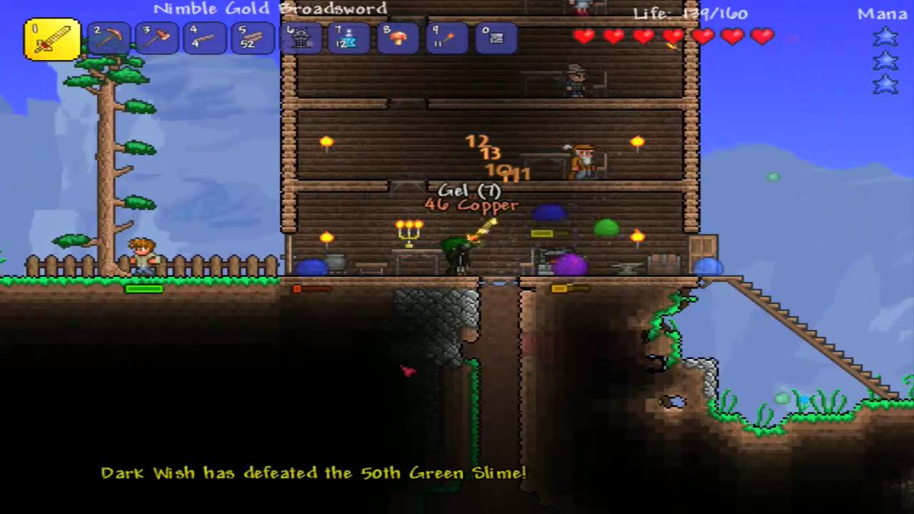 Terraria Ep3 Boss Fight Slime Invasion Youtube