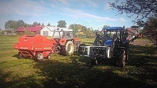 Akcja na dwa Ciągniki Vlog#203 Prasowanie i Zbieranie Belek z Trawy !